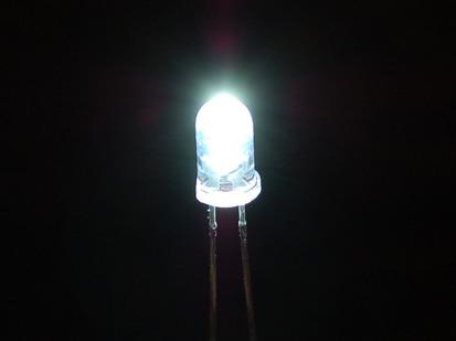 Single LED lit up bright white