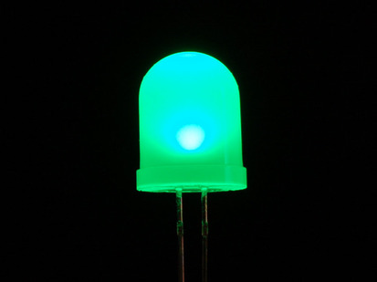 Single large LED lit up green