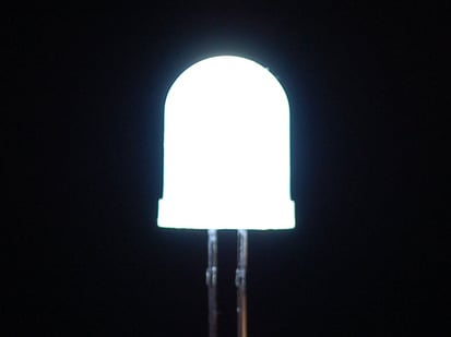 Single large LED lit up white