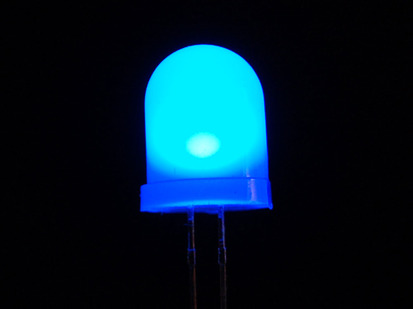 Single large LED lit up blue