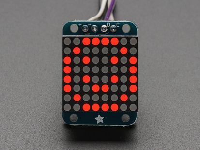 Adafruit Mini 8x8 LED matrix w/I2C Backpack- Red.