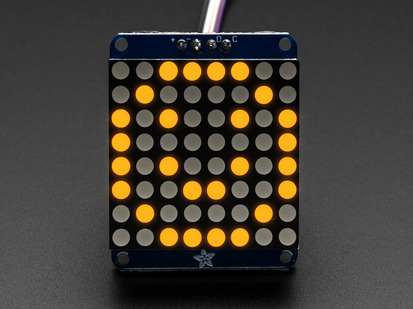 Adafruit Mini 8x8 LED matrix w/I2C Backpack- Yellow.