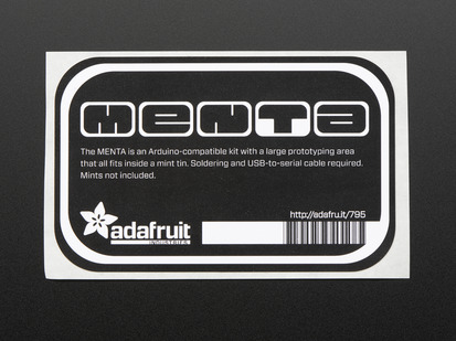 "Black rectangular sticker with roounded corners reading ""menta""  in stylized letters. With adafruit logo,name and barcode in white. mounted on white paper."
