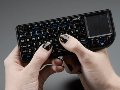 Miniature Wireless USB Keyboard with Touchpad, keyboard in use