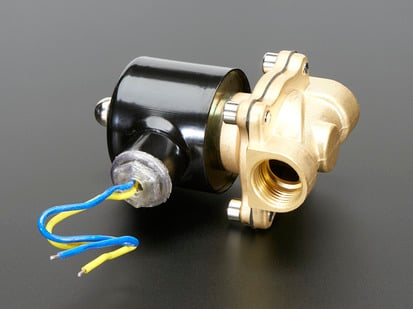 Brass Solenoid Valve with two threaded inlets and huge solenoid and two wires