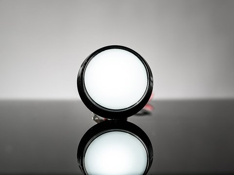 Large Arcade Button with LED - 60mm White