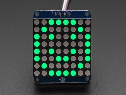 "Adafruit Small 1.2"" 8x8 LED Matrix w/I2C Backpack - Pure Green"