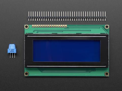 SPI I2C UART 20x4 LCD White Text Blue Background