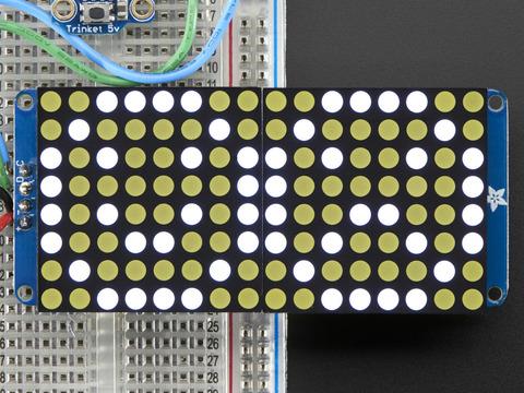 """16x8 1.2"""" LED Matrix + Backpack - Ultra Bright Round White LEDs"""