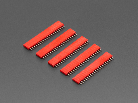 """20-pin 0.1"""" Female Header - Red - 5 pack"""