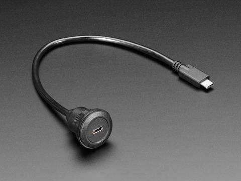 USB C Round Panel Mount Extension Cable - 30cm