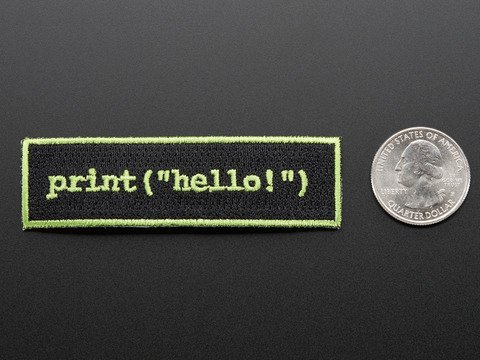 """Learn to program """"Hello world"""" - Skill badge, iron-on patch"""