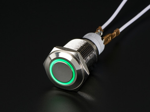 Weatherproof Metal Pushbutton with Green LED Ring