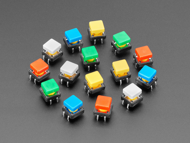 Colorful 12mm Square Tactile Button Switch Assortment - 15 pack