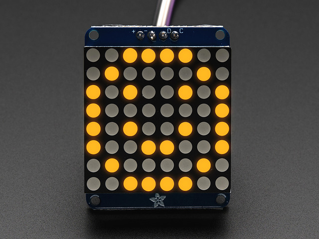 "Adafruit Small 1.2"" 8x8 LED Matrix w/I2C Backpack - Yellow"