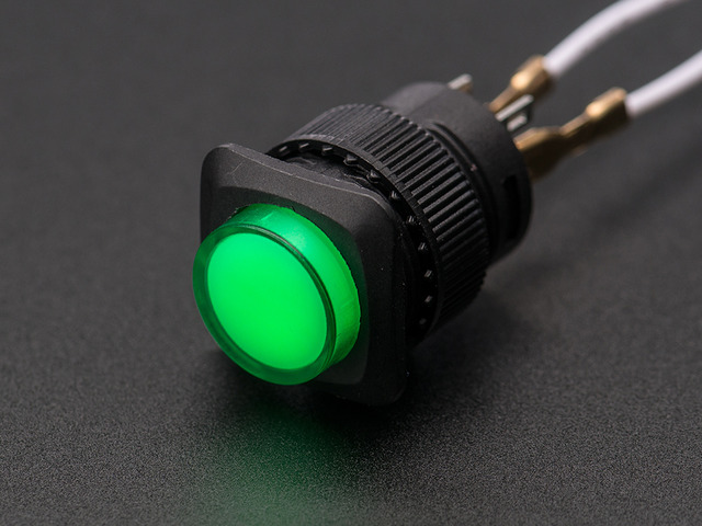 16mm Illuminated Pushbutton - Green Latching On/Off Switch