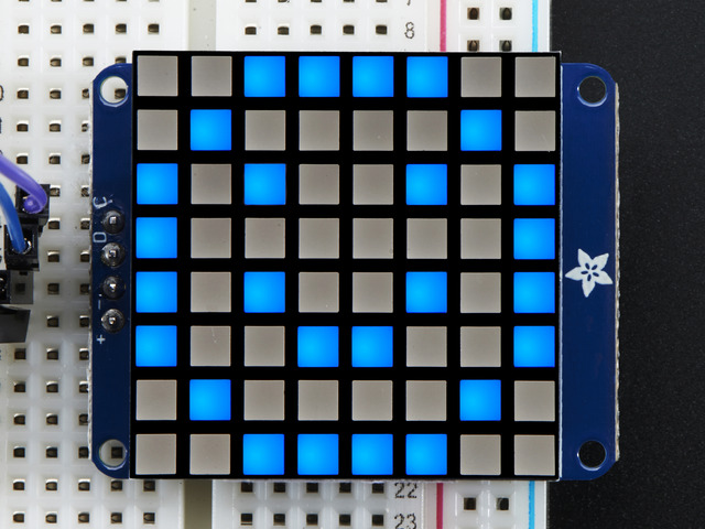 "Small 1.2"" 8x8 Ultra Bright Square Blue LED Matrix + Backpack"