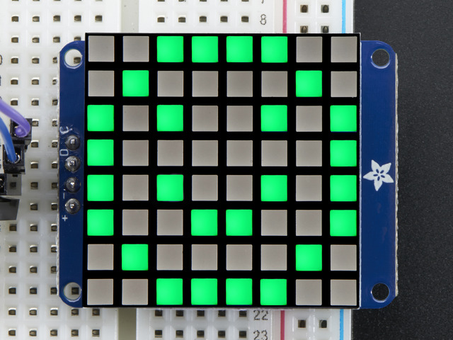 "Small 1.2"" 8x8 Bright Square Pure Green LED Matrix + Backpack"