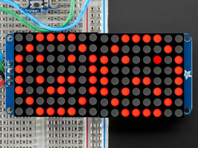 "16x8 1.2"" LED Matrix + Backpack - Ultra Bright Round Red LEDs"