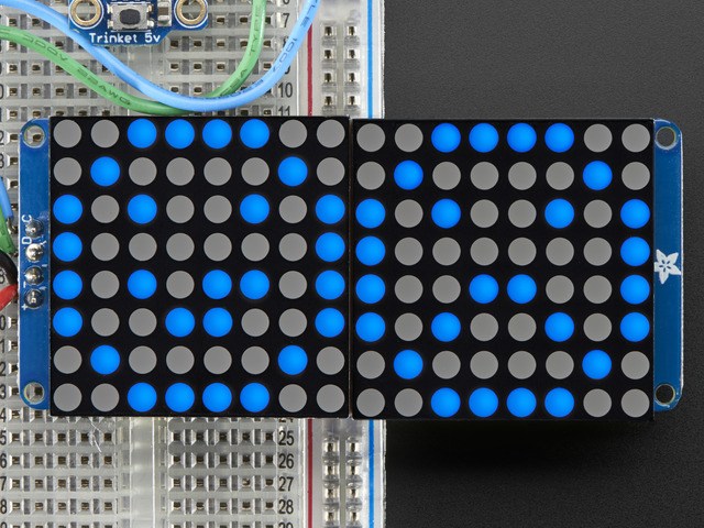 "16x8 1.2"" LED Matrix + Backpack - Ultra Bright Round Blue LEDs"