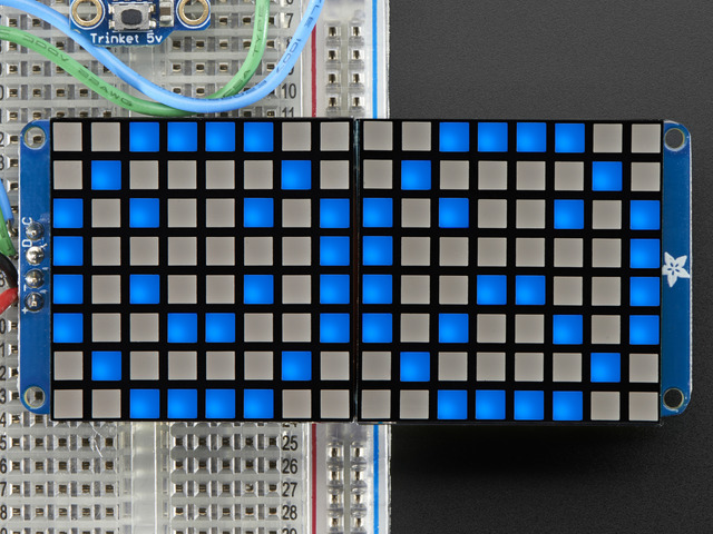 "16x8 1.2"" LED Matrix + Backpack - Ultra Bright Square Blue LEDs"