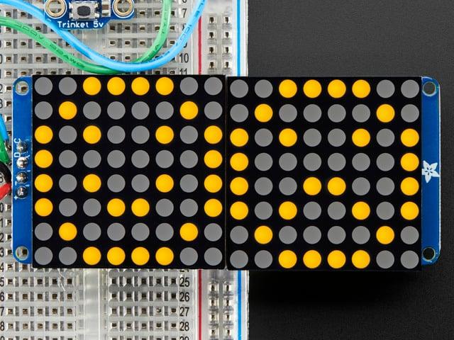 """16x8 1.2"""" LED Matrix + Backpack-Ultra Bright Round Orange LEDs"""