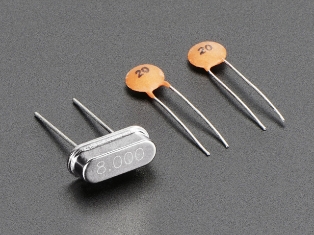 8 MHz Crystal + 20pF capacitors
