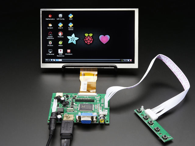 "HDMI 4 Pi: 7"" Display no Touchscreen 1024x600- HDMI/VGA/NTSC/PAL"