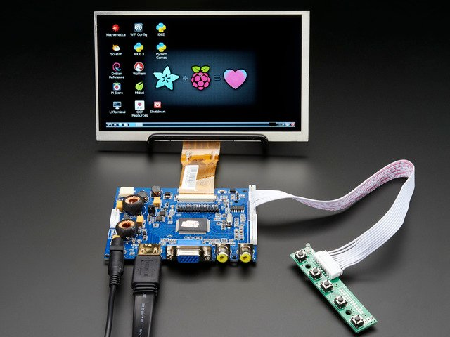 "HDMI 4 Pi: 7"" Display & Audio 1024x600 - HDMI/VGA/NTSC/PAL"