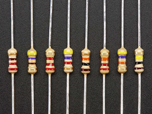 Through-Hole Resistors - 100 ohm-100K ohm - 5% 1/4W