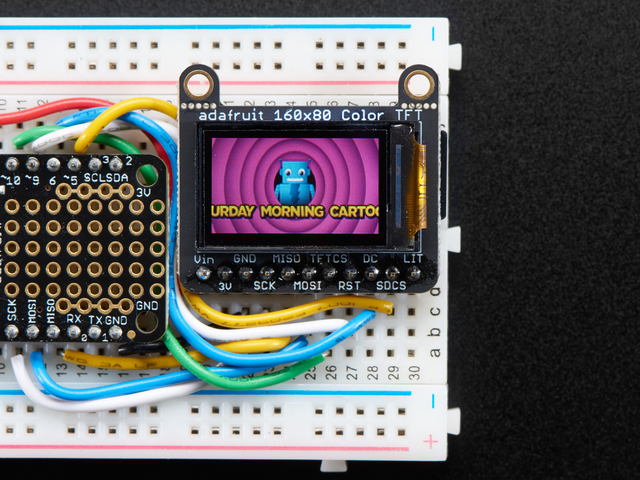 "Adafruit 0.96"" 160x80 Color TFT Display w/ MicroSD Card Breakout"