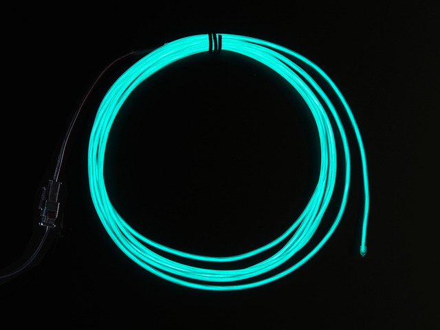 High Brightness Aqua Electroluminescent (EL) Wire - 2.5 meters