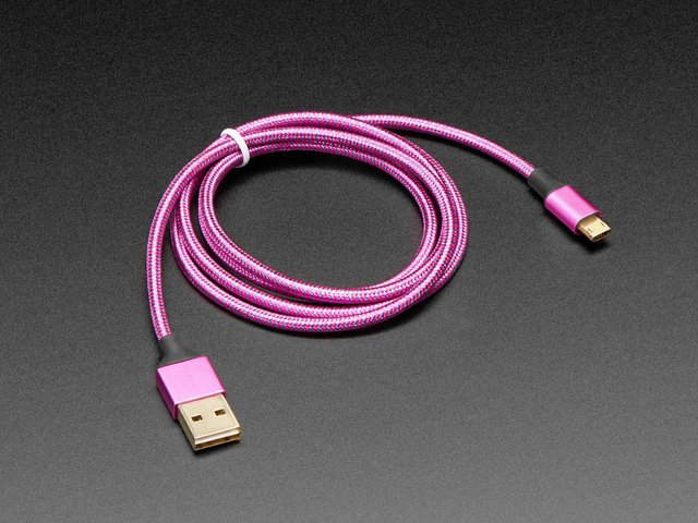 Fully Reversible Pink/Purple USB A to micro B Cable - 1m long