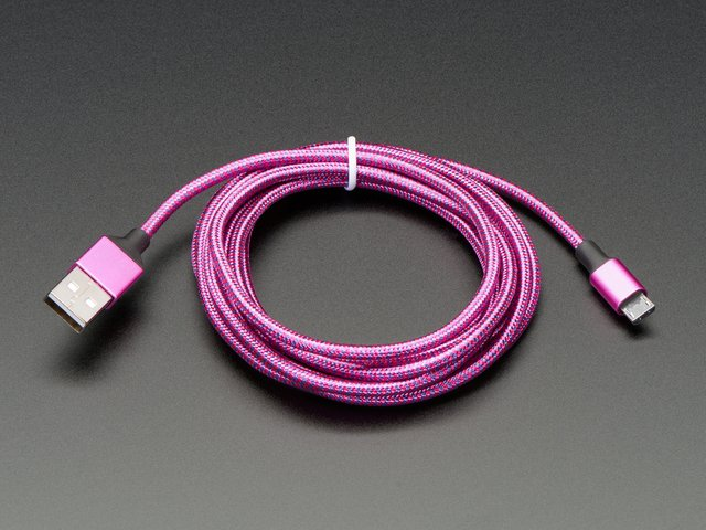 Pink and Purple Braided USB A to Micro B Cable - 2 meter long