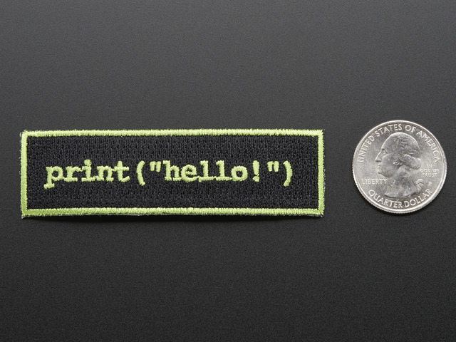 "Learn to program ""Hello world"" - Skill badge, iron-on patch"