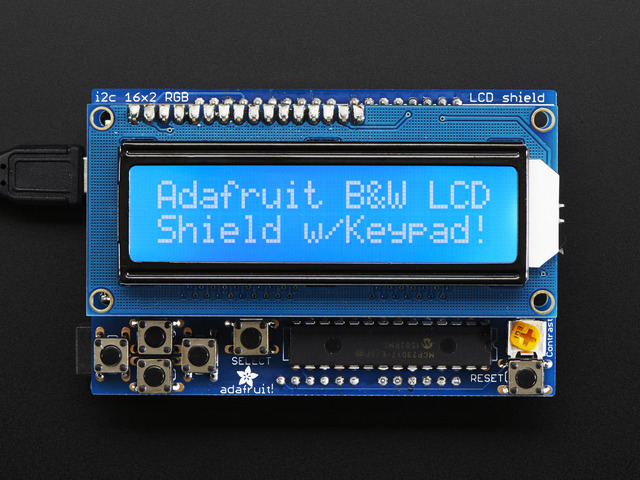 LCD Shield Kit w/ 16x2 Character Display - Only 2 pins used!