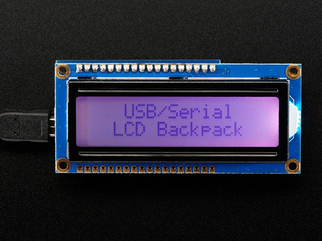 USB + Serial Backpack Kit with 16x2  RGB backlight positive LCD