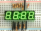 "Green 7-segment clock display - 0.39"" digit height"