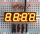 "Yellow 7-segment clock display - 0.39"" digit height"