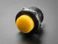 Angled shot of 16mm yellow panel mount pushbutton.