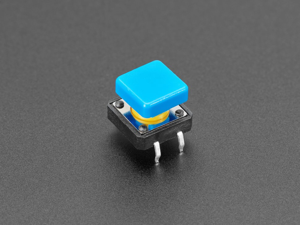 Closeup of single blue square tactile button switch.