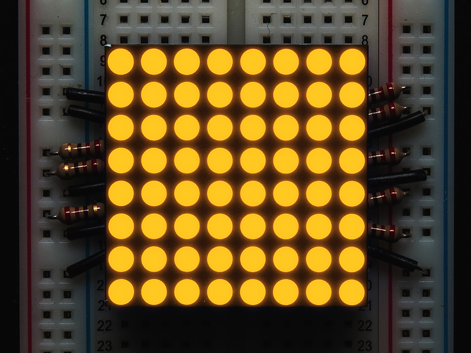 "Small 1.2"" 8x8 Ultra Bright Yellow-Orange LED Matrix - KWM-30881CUYB"