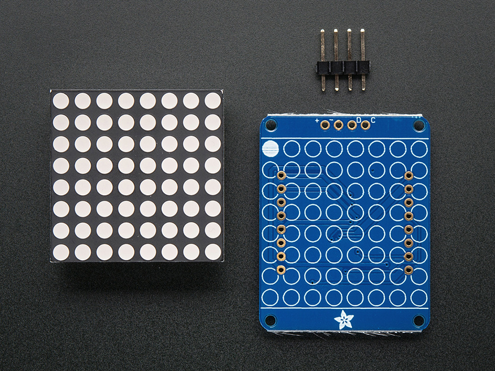 "Adafruit Small 1.2"" 8x8 LED Matrix w/I2C Backpack - Red"