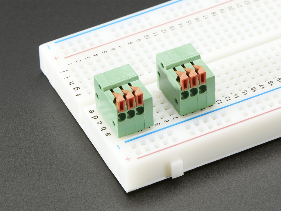 "Configurable Spring Terminal Blocks - 3 Pin 0.1"" Pitch R/A - x 5"