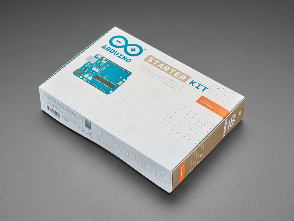Outer box of Arduino starter kit