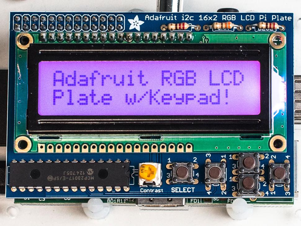 Adafruit RGB Positive 16x2 LCD+Keypad Kit for Raspberry Pi