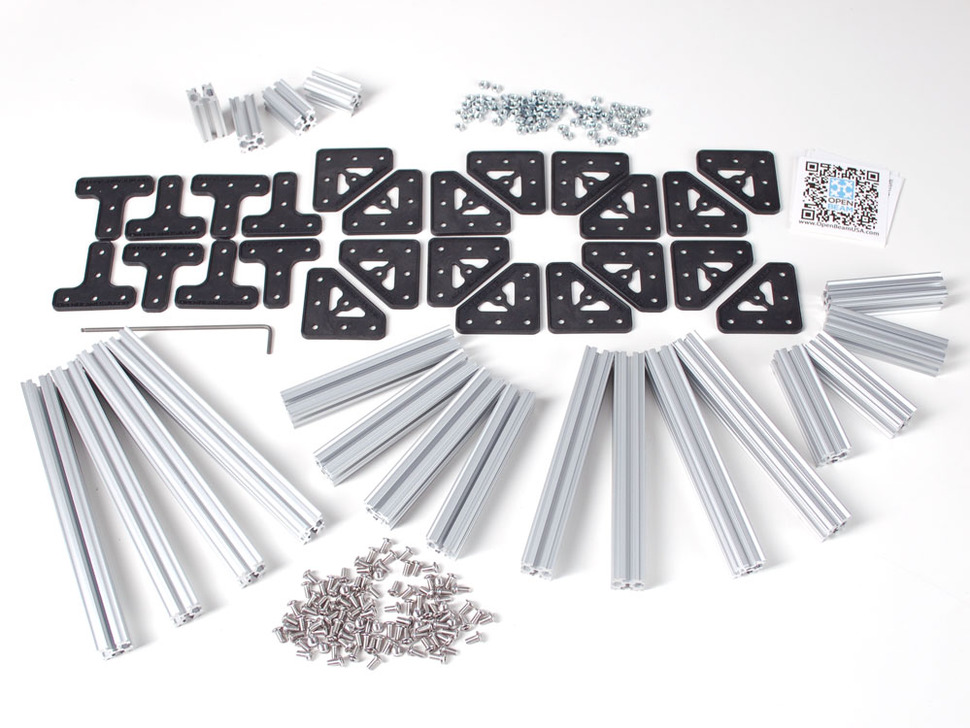 OpenBeam Starter Kit - Silver Aluminum beams and many connector plates
