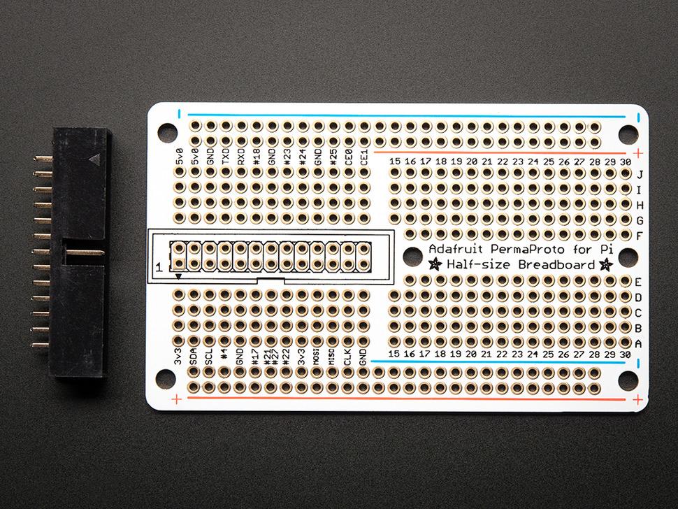 Adafruit Half-size Perma-Proto Raspberry Pi Breadboard PCB Kit