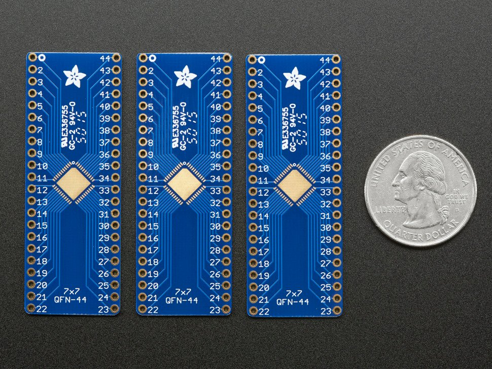 SMT Breakout PCB for 44-QFN or 44-TQFP - 3 Pack!