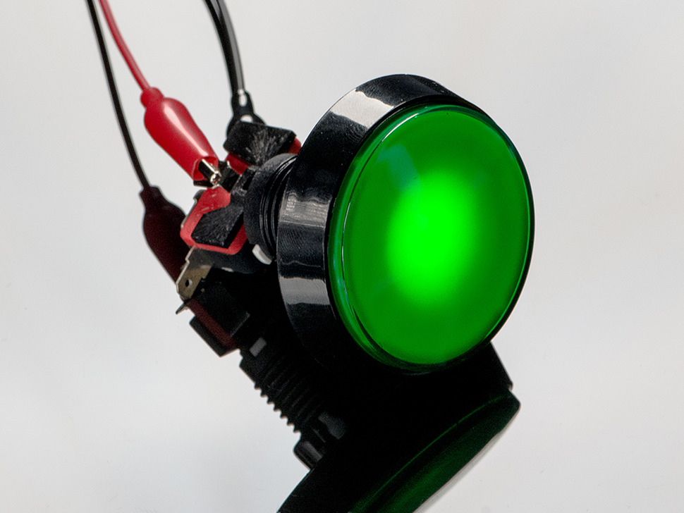 Large Arcade Button with LED - 60mm Green